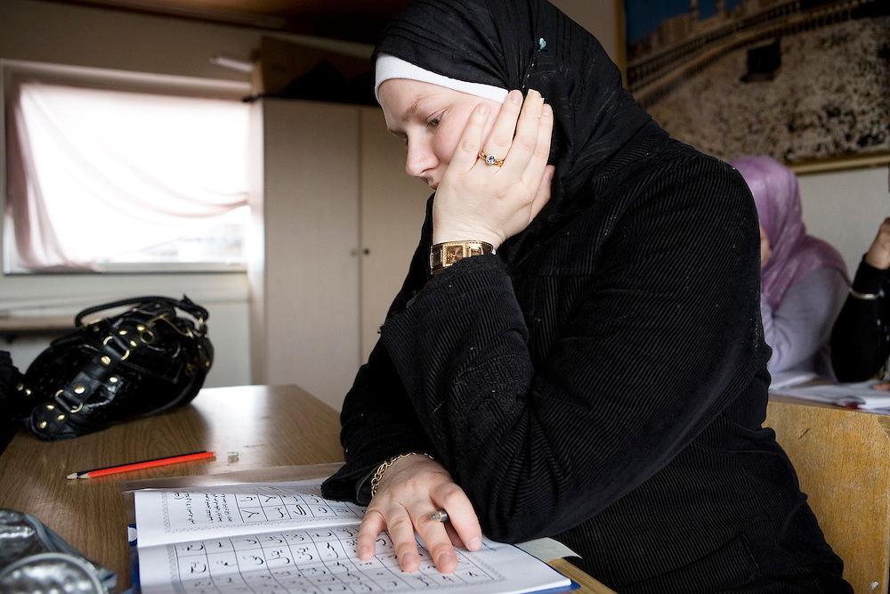 Arhus, Denmark, May 4, 2010.Charlotte, danish, converted to islam at the mosque during the arabic lesson.