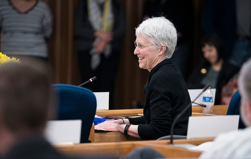 Ledell Zellers, Alder District 2, smiles before  the swearing in ceremony for Satya Rhodes-Conway and newly elected Alders at the City County Building in Madison, WI on Tuesday, April 16, 2019.