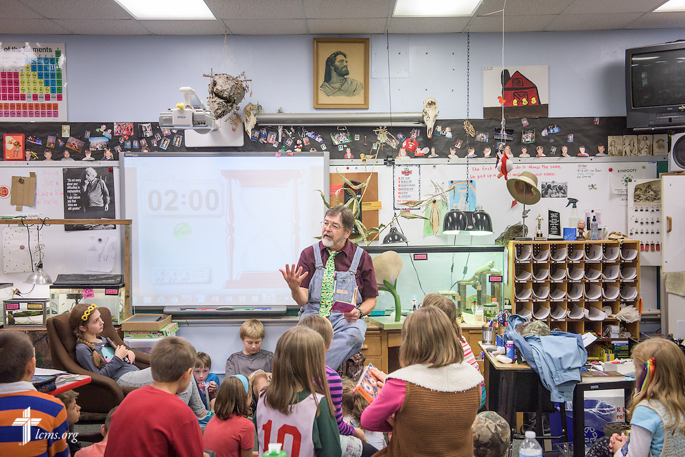 4th grade teacher Craig Schaubs reads to his students on Thursday, Oct. 27, 2016, at First Immanuel Lutheran School in Cedarburg, Wis. LCMS Communications/Erik M. Lunsford