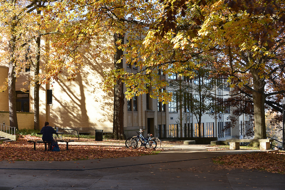 A student sits on a bench outside of Kent Hall on the Campus of Kent State Univeristy on a warm fall day.
