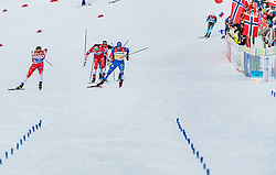 21.02.2019, Langlauf Arena, Seefeld, AUT, FIS Weltmeisterschaften Ski Nordisch, Seefeld 2019, Langlauf, Herren, Sprint, im Bild v.l. Johannes Hoesflot Klaebo (NOR), Federico Pellegrino (ITA) // f.l. Johannes Hoesflot Klaebo of Norway and Federico Pellegrino of Italy during the men's Sprint competition of the FIS Nordic Ski World Championships 2019. Langlauf Arena in Seefeld, Austria on 2019/02/21. EXPA Pictures © 2019, PhotoCredit: EXPA/ Stefan Adelsberger