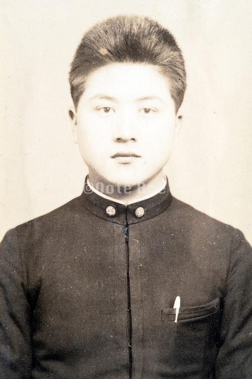 deteriorating identy portrait Japanese student early 1900s