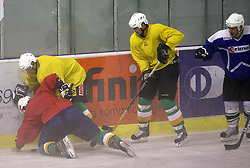 Ales Music and Nik Zupancic at second ice hockey practice of HDD Tilia Olimpija on ice in the new season 2008/2009, on August 19, 2008 in Hala Tivoli, Ljubljana, Slovenia. (Photo by Vid Ponikvar / Sportal Images)