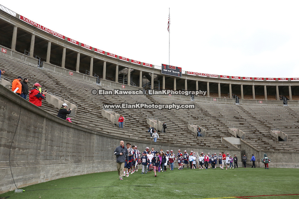 Members of the Boston Cannons walk onto the field prior to the game at Harvard Stadium on April 27, 2014 in Boston, Massachusetts. (Photo by Elan Kawesch)