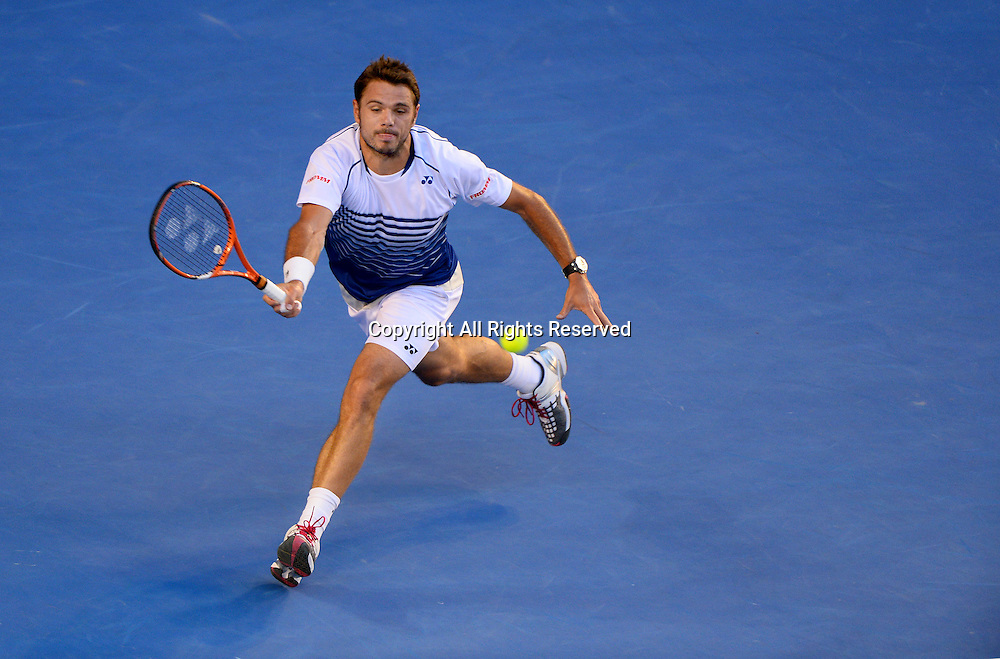 Stan Warwrinka (SUI) during the Men's 2nd Semi Finals match vs N. Djokovic (SRB)<br /> 2015 Australian Open Tennis / Day 12<br /> Grand Slam of Asia Pacific<br /> Melbourne Park, Vic Australia<br /> Friday 30 January 2015<br /> &copy; Sport the library / Jeff Crow