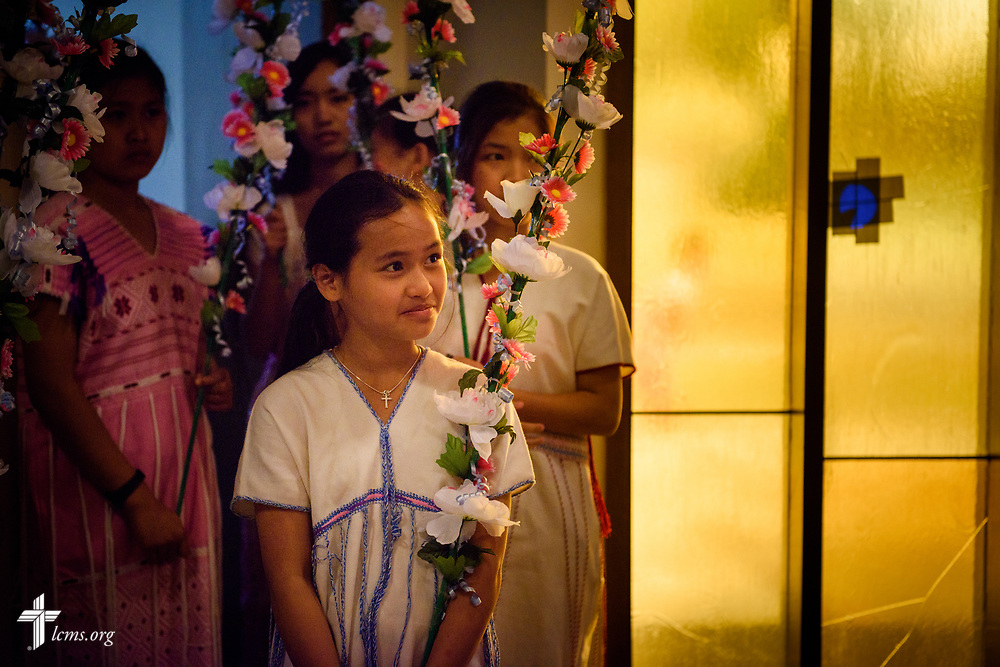 A young girl waits for the start of a Burmese wedding at New Vision Lutheran Church, Spokane, Wash., on Saturday, June 17, 2017, in Spokane. LCMS Communications/Erik M. Lunsford