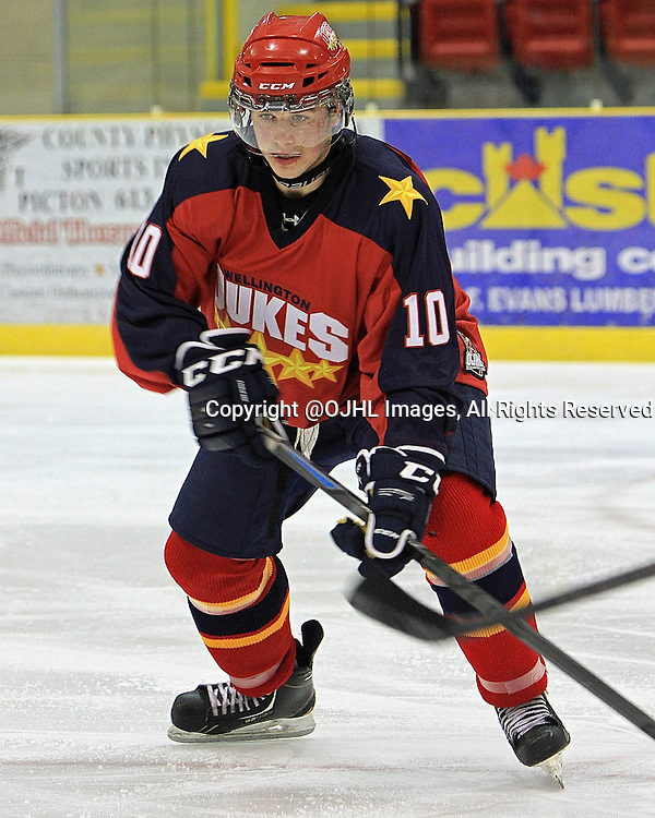 WELLINGTON, Ontario - September 19,2014 : Ontario Junior Hockey League game action between Mississauga and Wellington, Chase St Aubin #10 of the Wellington Dukes Hockey Club.<br /> (Photo by Ed McPherson / OJHL Images)