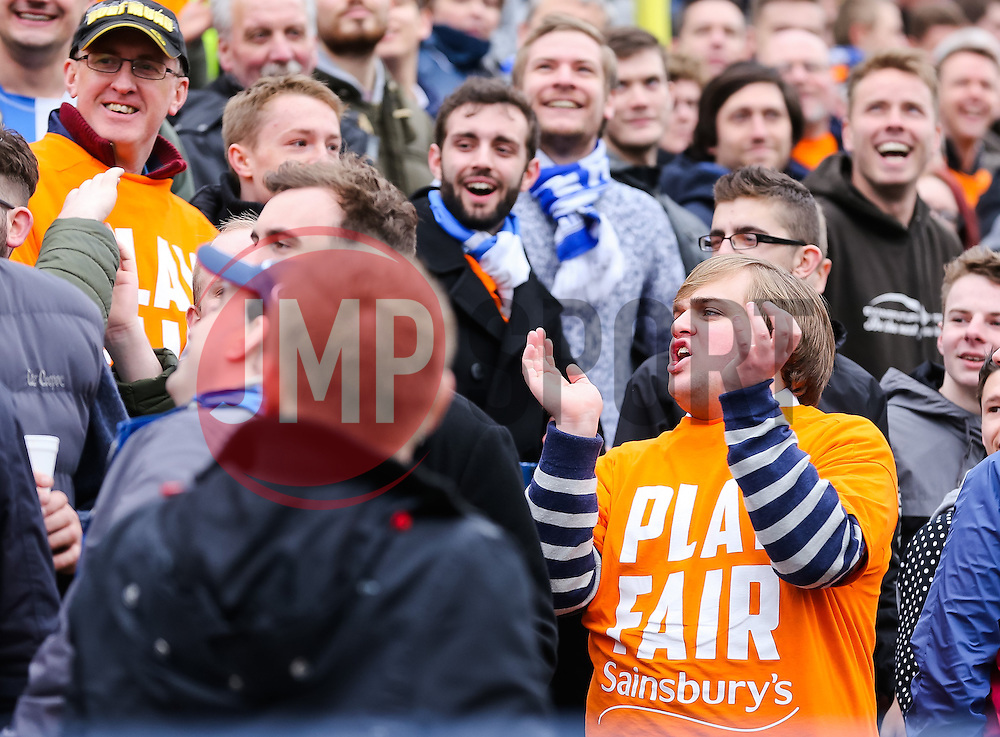 Bristol Rovers fans - Photo mandatory by-line: Neil Brookman/JMP - Mobile: 07966 386802 - 28/03/2015 - SPORT - Football - Macclesfield - Moss Rose - Macclesfield Town v Bristol Rovers - Vanarama Football Conference