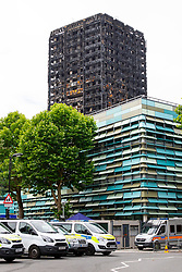 © Licensed to London News Pictures. 01/07/2017. London, UK. Burnt Grenfell Tower is seen on Saturday, 1 July 2017 in west London. Photo credit: Tolga Akmen/LNP