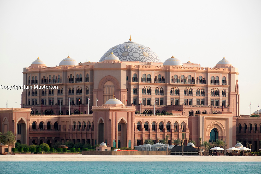 Exterior view of luxury Emirates Palace Hotel in Abu Dhabi United Arab Emirates