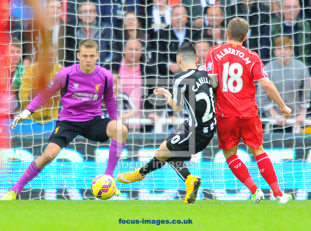 Remy Cabella of Newcastle United (centre) shoots from a close range but misses a chance during the Barclays Premier League match at St. James's Park, Newcastle<br /> Picture by Greg Kwasnik/Focus Images Ltd +44 7902 021456<br /> 01/11/2014