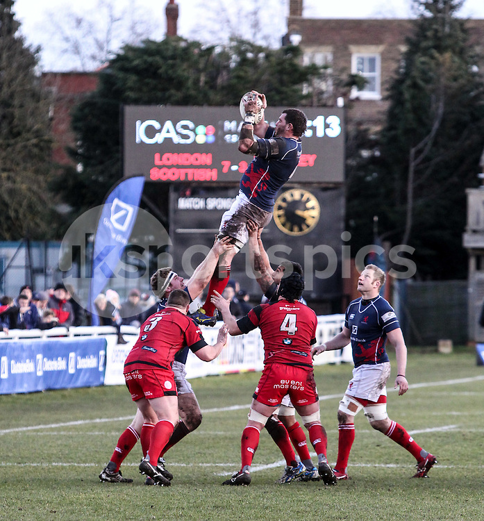 James Phillips wins the line-out during the Green King IPA Championship match between London Scottish &amp; Moseley at Richmond, Greater London on 21st February 2015<br /> <br /> Photo: Ken Sparks | UK Sports Pics Ltd<br /> London Scottish v Moseley, Green King IPA Championship, 21st February 2015<br /> <br /> &copy; UK Sports Pics Ltd. FA Accredited. Football League Licence No:  FL14/15/P5700.Football Conference Licence No: PCONF 051/14 Tel +44(0)7968 045353. email ken@uksportspics.co.uk, 7 Leslie Park Road, East Croydon, Surrey CR0 6TN. Credit UK Sports Pics Ltd