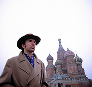 The Edge from U2 in Moscow's Red Square on a Greenpeace mission 1989