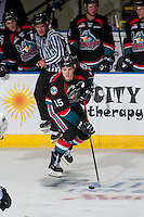 KELOWNA, CANADA - SEPTEMBER 24: Tomas Soustal #15 of the Kelowna Rockets skates with the puck against the Kamloops Blazers on September 24, 2016 at Prospera Place in Kelowna, British Columbia, Canada.  (Photo by Marissa Baecker/Shoot the Breeze)  *** Local Caption *** Tomas Soustal;
