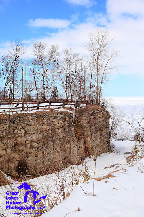 Green Bay remains completely frozen on March 17, 2013. This image captures the harsh conditions at Brown County's Bayshore Park, including the impassible road through the Niagara Escarpment down to Lake Michigan.