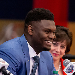 Jun 21, 2019; New Orleans, LA, USA; New Orleans Pelicans forward Zion Williamson the first overall selection in the NBA Draft talks as owner Gayle Benson looks on during an introductory press conference at the New Orleans Pelicans Training Facility. Mandatory Credit: Derick E. Hingle-USA TODAY Sports