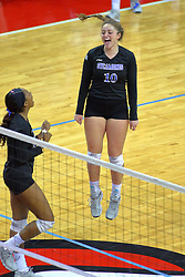 23 November 2017:  Rachel Griffin celebrates a point  during a college women's volleyball match between the Drake Bulldogs and the Indiana State Sycamores in the Missouri Valley Conference Tournament at Redbird Arena in Normal IL (Photo by Alan Look)