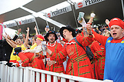 Spectators in fancy dress ahead of the final of the Vitality T20 Finals Day 2018 match between Worcestershire Rapids and Sussex Sharks at Edgbaston, Birmingham, United Kingdom on 15 September 2018.