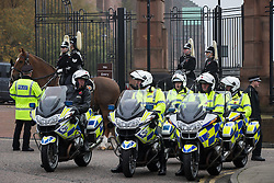 © Licensed to London News Pictures . 02/11/2015 . Liverpool , UK . Police bikes and horses outside the cathedral . The funeral of Police Constable Dave Phillips , at Liverpool Cathedral . Five people are charged in connection with his death , including Clayton Williams , 18 , from Wallasey , who is charged with murder . Photo credit: Joel Goodman/LNP