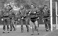 Eric McManus, footballer, goalkeeper, Stoke City FC & N Ireland, left, signals the go-ahead for a corner during a training session prior to N Ireland's November 1980 game against Portugal at Windsor Park. Also prominent in the photo are Billy Hamilton, Burnley FC, Dave McCreeery, Manchester United FC, John McClelland, Mansfield Town FC, Mal Donaghy, Luton Town FC.19801100399k<br />