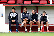 AFC Wimbledon manager Neal Ardley sitting in the dugout during the Pre-Season Friendly match between Ebbsfleet and AFC Wimbledon at Stonebridge Road, Ebsfleet, United Kingdom on 29 July 2017. Photo by Matthew Redman.