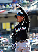 Miami Marlins Ichiro Suzuki loosens up before his first at bat against the New York Mets during a baseball game, Wednesday, April 13, 2016, in New York. <br /> (AP Photo/Kathy Kmonicek)
