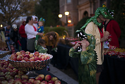 October 31, 2018 - St. Paul, MN, USA - Isaac Webster, 5, bitesinto an apple while going through the treat line with his sister, Meg, 3, his dad and his grandma, Rita McKee, right on Halloween at the Governor's Residence Wednesday, Oct. 31, 2018 in St. Paul, Minn. (Credit Image: © Jeff Wheeler/Minneapolis Star Tribune/TNS via ZUMA Wire)