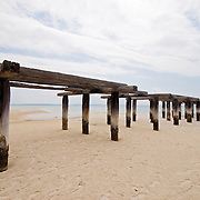 Old jetty on the beach at Fraser Island<br /> Photos were taken on a 22km round trip from Kingfisher Bay Resourt to Lake McKenzie