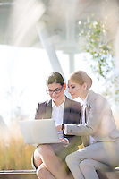 Happy businesswomen using laptop together on sunny day