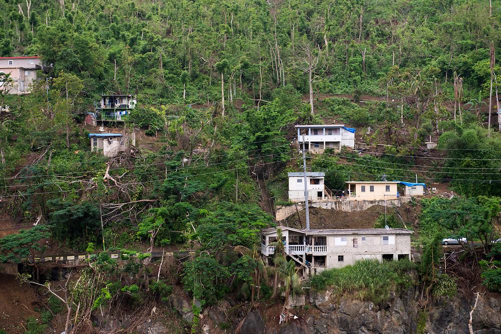 Comerio, PR, November 11, 2017-- Hurricane Maria triggered mudslides in the muontain areas of Comeria, PR. Photo by Lori Waselchuk/BRAF