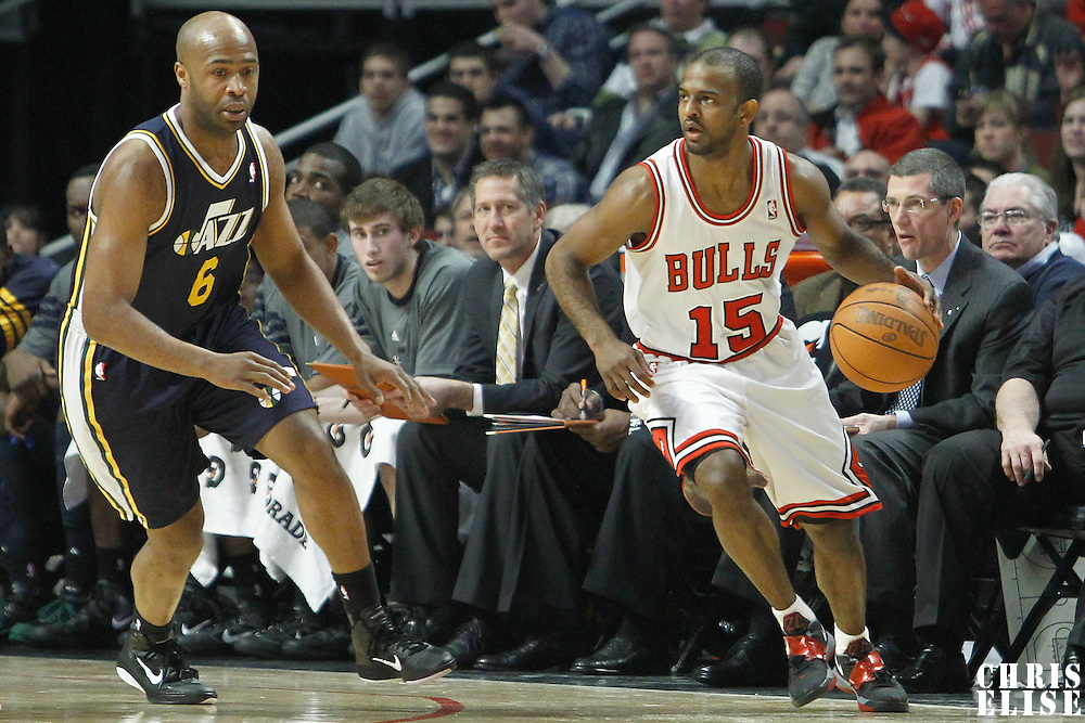 10 March 2012: Chicago Bulls point guard John Lucas (15) drives past Utah Jazz point guard Jamaal Tinsley (6) during the Chicago Bulls 111-97 victory over the Utah Jazz at the United Center, Chicago, Illinois, USA.