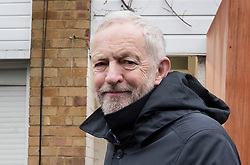 © Licensed to London News Pictures. 02/04/2018. London, UK. Leader of the Labour Party, Jeremy Corbyn leaves home. Mr Corbyn is under increasing pressure over alleged anti-Semitism in the Labour Party.  Photo credit: Peter Macdiarmid/LNP