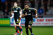 Wimbledon midfielder Andy Barcham (17)  during the The FA Cup 3rd round match between Fleetwood Town and AFC Wimbledon at the Highbury Stadium, Fleetwood, England on 5 January 2019.