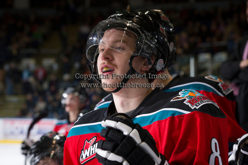 KELOWNA, CANADA - NOVEMBER 30: Cole Martin #8 of the Kelowna Rockets stands on the bench opposite the  Moose Jaw Warriors at the Kelowna Rockets on November 30, 2012 at Prospera Place in Kelowna, British Columbia, Canada (Photo by Marissa Baecker/Getty Images) *** Local Caption ***