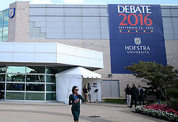 NEW YORK, Sept. 26, 2016 (Xinhua)  -- People stand outside the debate hall for the first U.S. presidential debate at Hofstra University in New York, the United States on Sept. 26, 2016. The first of three presidential debates between the Democratic and Republican nominees, Hillary Clinton and Donald Trump, will be held Monday at Hofstra University in New York. (Xinhua/Qin Lang) (Credit Image: © Qin Lang/Xinhua via ZUMA Wire)