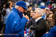 CHICAGO, IL - APRIL 5:  Cubs' Manager, Joe Maddon talks with Chicago Mayor Rahm Emmanuel before the Opening Night game against the St. Louis Cardinals at Wrigley Field on Sunday, April 5, 2015 in Chicago, Illinois. (Photo by Matt Kosterman/MLB Photos via Getty Images)