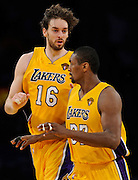 Pau Gasol and Ron Artest get back on defence in the first half. The Lakers defeated the Boston Celtics in game 6 of the NBA Finals 89-67. Los Angeles, CA 06/15/2010 (John McCoy/Staff Photographer).