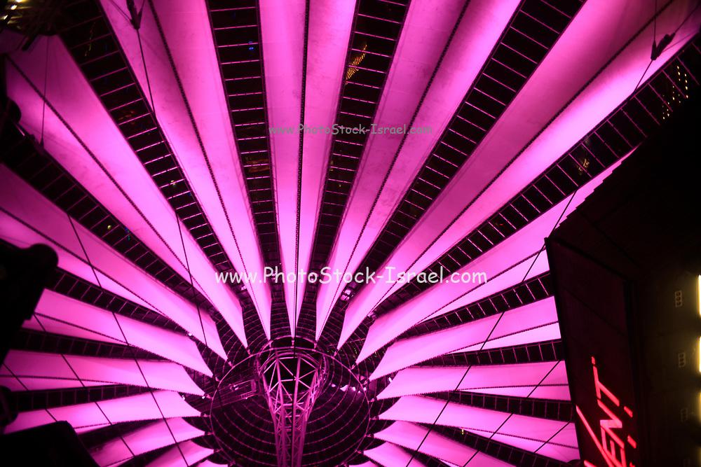 illuminated Sony Center at Potsdamer Platz, Berlin, Germany