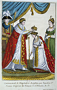 Coronation of Napoleon I, 2 December 1804. Napoleon placing the crown on Empress Josephine. Hand-coloured engraving.