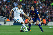 14 Casemiro from Brazil of Real Madrid defended by 05 Sergi Busquets from Spain of FC Barcelona during the Spanish championship La Liga football match between FC Barcelona and Real Madrid on May 6, 2018 at Camp Nou stadium in Barcelona, Spain - Photo Xavier Bonilla / Spain ProSportsImages / DPPI / ProSportsImages / DPPI