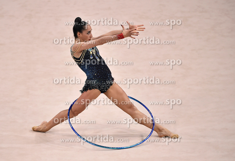 08.09.2015, Porsche Arena, Stuttgart, GER, Gymnastik WM, im Bild Salome Pazhava (GEO) Reifen // during the World Rhythmic Gymnastics Championships at the Porsche Arena in Stuttgart, Germany on 2015/09/08. EXPA Pictures &copy; 2015, PhotoCredit: EXPA/ Eibner-Pressefoto/ Weber<br /> <br /> *****ATTENTION - OUT of GER*****