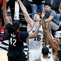 01 May 2017: Houston Rockets center Nene Hilario (42) passes the ball past San Antonio Spurs center Pau Gasol (16) during the Houston Rockets 126-99 victory over the San Antonio Spurs, in game 1 of the Western Conference Semi Finals, at the AT&T Center, San Antonio, Texas, USA.