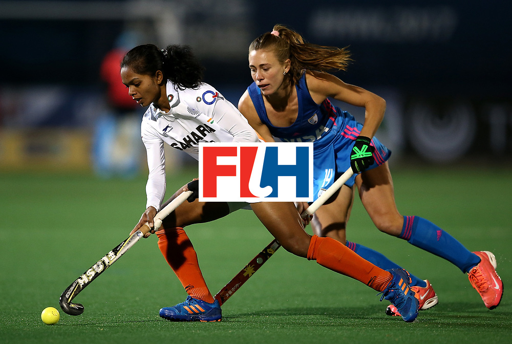 JOHANNESBURG, SOUTH AFRICA - JULY 16:  Anupa Barla of India controls the ball from Agustina Habif of Argentina during day 5 of the FIH Hockey World League Women's Semi Finals Pool B match between Argentina and India at Wits University on July 16, 2017 in Johannesburg, South Africa.  (Photo by Jan Kruger/Getty Images for FIH)