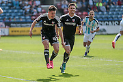 Sergi Canos (Brentford) celebrates opening the scoring, 1-0 to Brentford during the Sky Bet Championship match between Huddersfield Town and Brentford at the John Smiths Stadium, Huddersfield, England on 7 May 2016. Photo by Mark P Doherty.