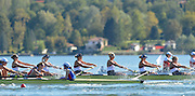 Varese,  ITALY. 2012 FISA European Championships, Lake Varese Regatta Course. ..Women's Eights, 'Race for Lanes' start of the Women's Eights preliminary race Friday afternoon,  GBR W8+ Varese, ITALY. 2012 FISA European Championships, Lake Varese Regatta Course. ..GBR W8+. Bow. Leonora KENNEDY, Claire MCKEOWN, Monica RELPH, Victoria MEYER-LAKER, Yasmin TREDWELL, Zoe LEE, Caragh MCMURTRY, Olivia CARNEGIE-BROWN and Zoe DE TOLEDO..16:32:22  Friday  14/09/2012.....[Mandatory Credit Peter Spurrier:  Intersport Images]  ..2012 European Rowing Championships; .File name; Rowing, European,  2012 010812.jpg.....