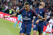 Neymar da Silva Santos Junior - Neymar Jr (PSG) scored a new goal and celebrated it with Layvin Kurzawa (psg) during the French championship L1 football match between Paris Saint-Germain (PSG) and Toulouse Football Club, on August 20, 2017, at Parc des Princes, in Paris, France - Photo Stephane Allaman / ProSportsImages / DPPI