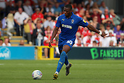AFC Wimbledon defender Paul Kalambayi (30) passing the ball during the EFL Sky Bet League 1 match between AFC Wimbledon and Rotherham United at the Cherry Red Records Stadium, Kingston, England on 3 August 2019.
