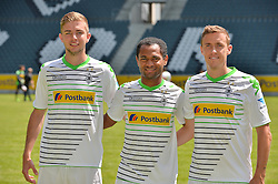 09.07.2013, Borussia Park, Moenchengladbach, GER, 1. FBL, Fototermin Borussia Moenchengladbach, im Bild V.l.n.r. Neuzugaenge Borussia Moenchengladbach Saison 2013/14: Christoph Kramer, Raffael, Max Kruse ( alle Borussia Moenchengladbach/ Portrait ), // during a Photo Shoot of German Bundesliga Club Borussia Moenchengladbach at the Borussia Park, Moenchengladbach, Germany on 2013/07/09. EXPA Pictures © 2013, PhotoCredit: EXPA/ Eibner/ Thomas Thienel<br /> <br /> ***** ATTENTION - OUT OF GER *****