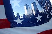 Ground Zero is seen through an American flag in Manhattan, NY. 9/11/2002 Photo by Jennifer S. Altman