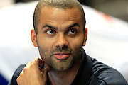 Tony Parker shows no visible signs of injury following suffering a scratched retina in the midst of the brawl between R & B singer Chris Brown and Canadian rapper Drake. France v Ivory Coast, On the road to London Tour, Basketball friendly, Palais des Sport, 29th June 2012/